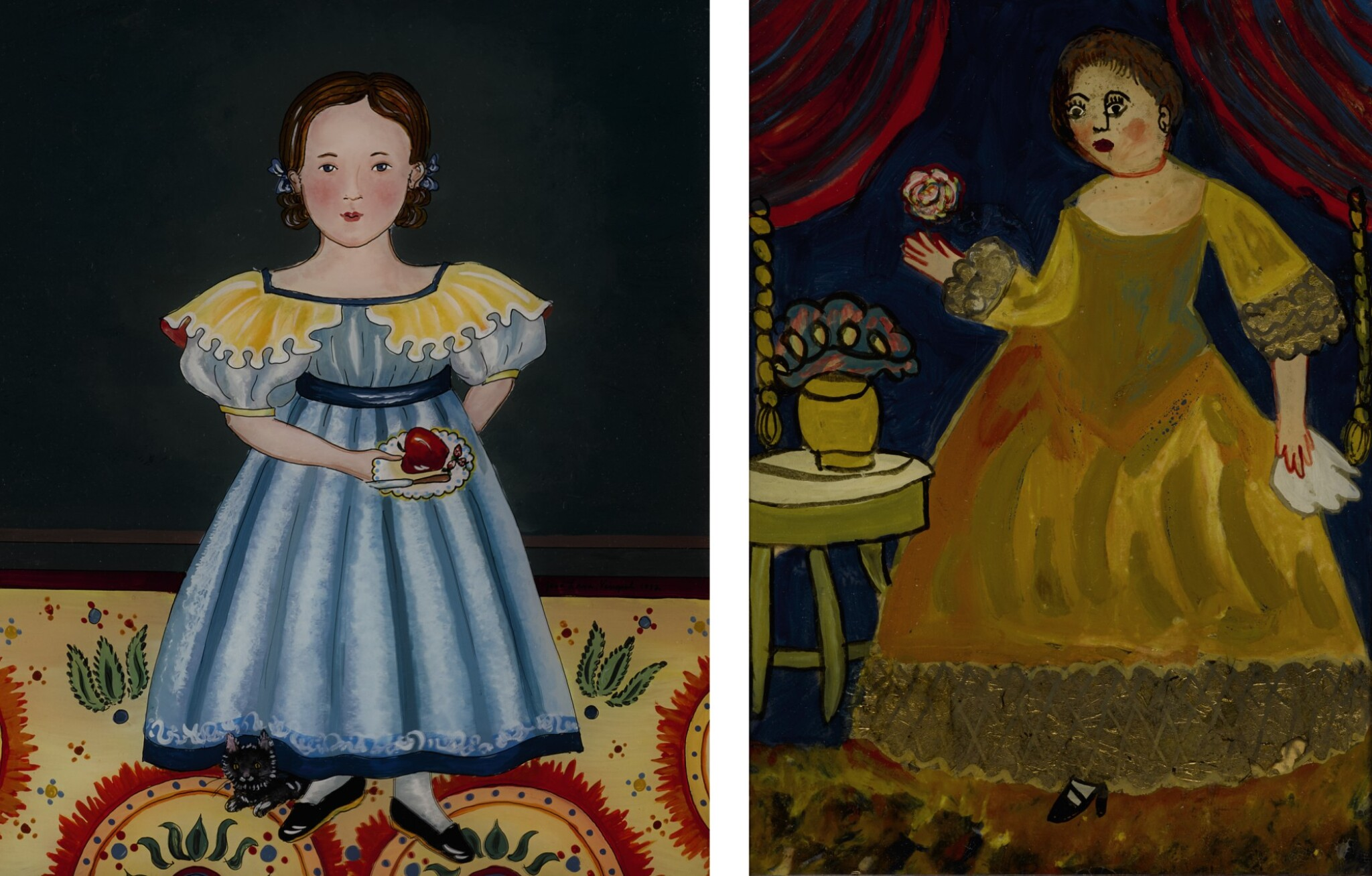 View full screen - View 1 of Lot 1476. JANA VINOPAL   YOUNG AMERICAN GIRL HOLDING FRUIT WITH A CAT.