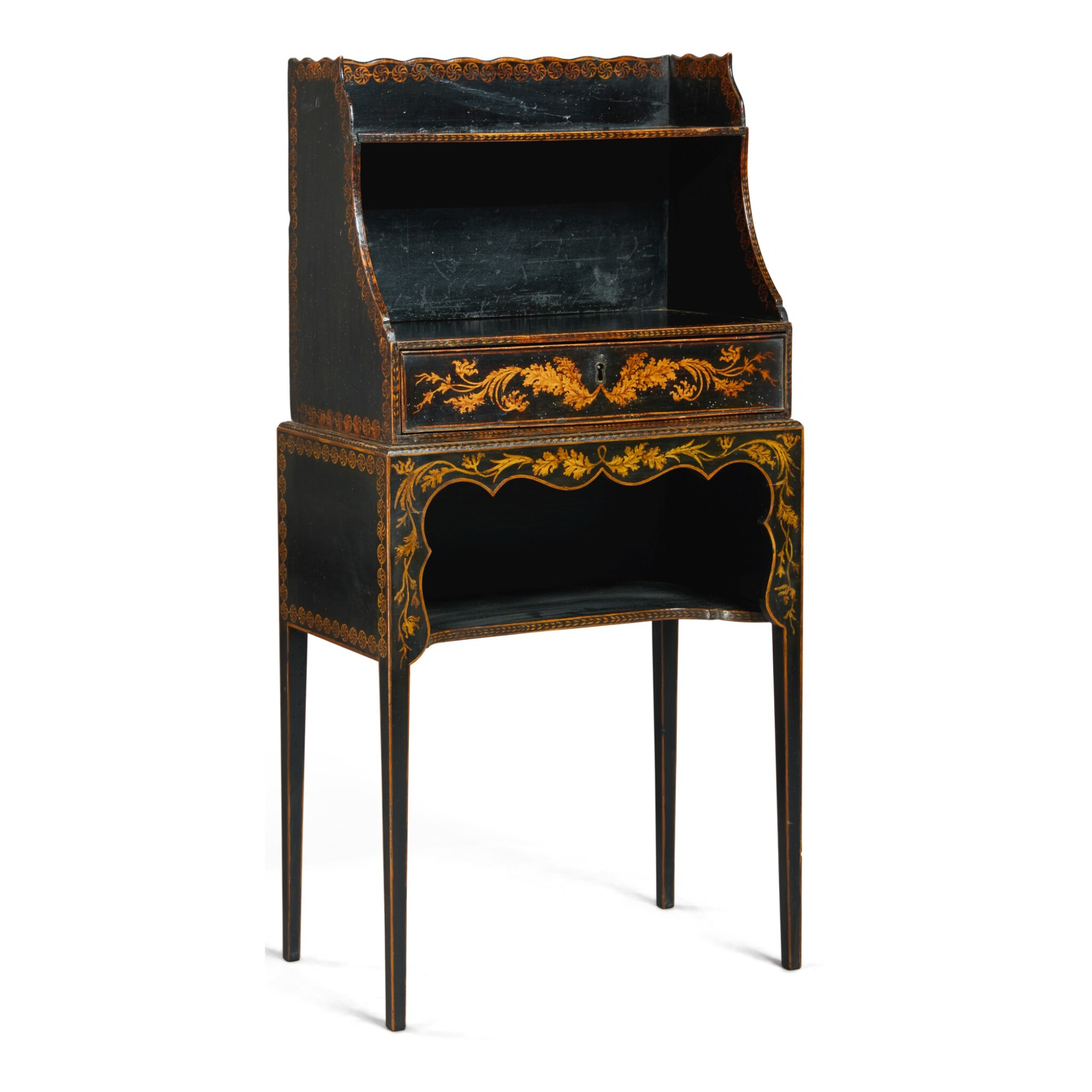 View full screen - View 1 of Lot 130. A REGENCY BLACK AND GOLD JAPANNED SMALL ETAGERE, FIRST HALF 19TH CENTURY.