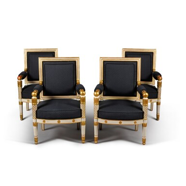 View 1. Thumbnail of Lot 12. A set of four Empire white painted and parcel gilt fauteuils, by Jacob, early 19th century.