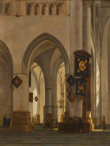 GERRIT ADRIAENSZ. BERCKHEYDE | INTERIOR OF ST BAVO CATHEDRAL, HAARLEM, WITH FIGURES CONVERSING