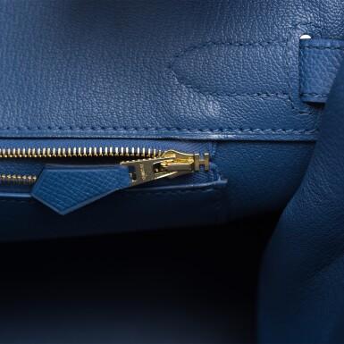 View 8. Thumbnail of Lot 9. Hermès Bleu Brighton Birkin 30cm of Epsom Leather with Gold Hardware.