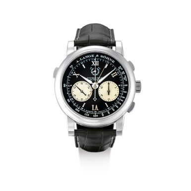 """View 1. Thumbnail of Lot 2067. A. LANGE & SÖHNE   SAXONIA DOUBLE SPLIT DATOGRAPH, REFERENCE 404.035F, A PLATINUM DOUBLE SPLIT CHRONOGRAPH WRISTWATCH WITH POWER RESERVE INDICATION AND HACKING DEAD SECONDS, CIRCA 2009   朗格   """"Saxonia Double Split Datograph 型號404.035F  鉑金雙追針計時腕錶,備動力儲備顯示,機芯編號47348,錶殼編號154626,約2009年製""""."""