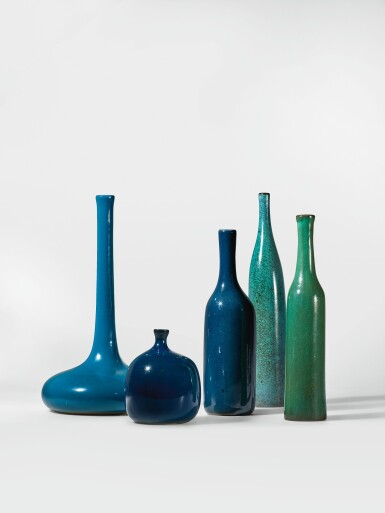 """View 2. Thumbnail of Lot 220. JACQUES RUELLAND AND DANI RUELLAND   TWO """"BOUTEILLE"""" VASES."""