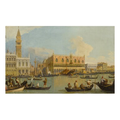 View 1. Thumbnail of Lot 123. CIRCLE OF GIOVANNI ANTONIO CANAL, CALLED CANALETTO | VIEW OF THE MOLO FROM THE BACINO DI SAN MARCO, THE ZECCA AT LEFT AND PALAZZO DUCALE AT RIGHT.