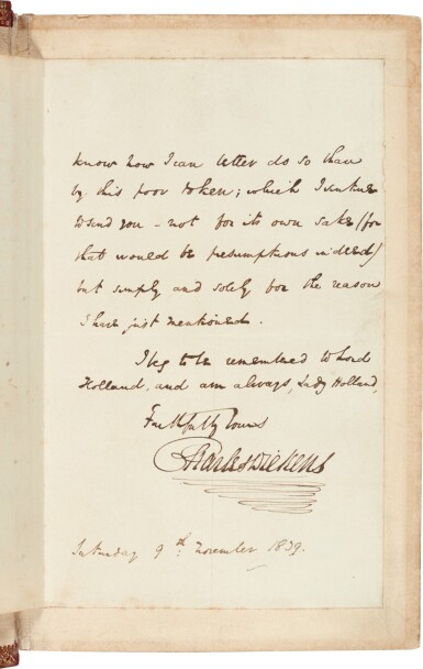 View 3. Thumbnail of Lot 36. Charles Dickens | Nicholas Nickleby, 1839, first edition, presentation copy with letter to Lady Holland.