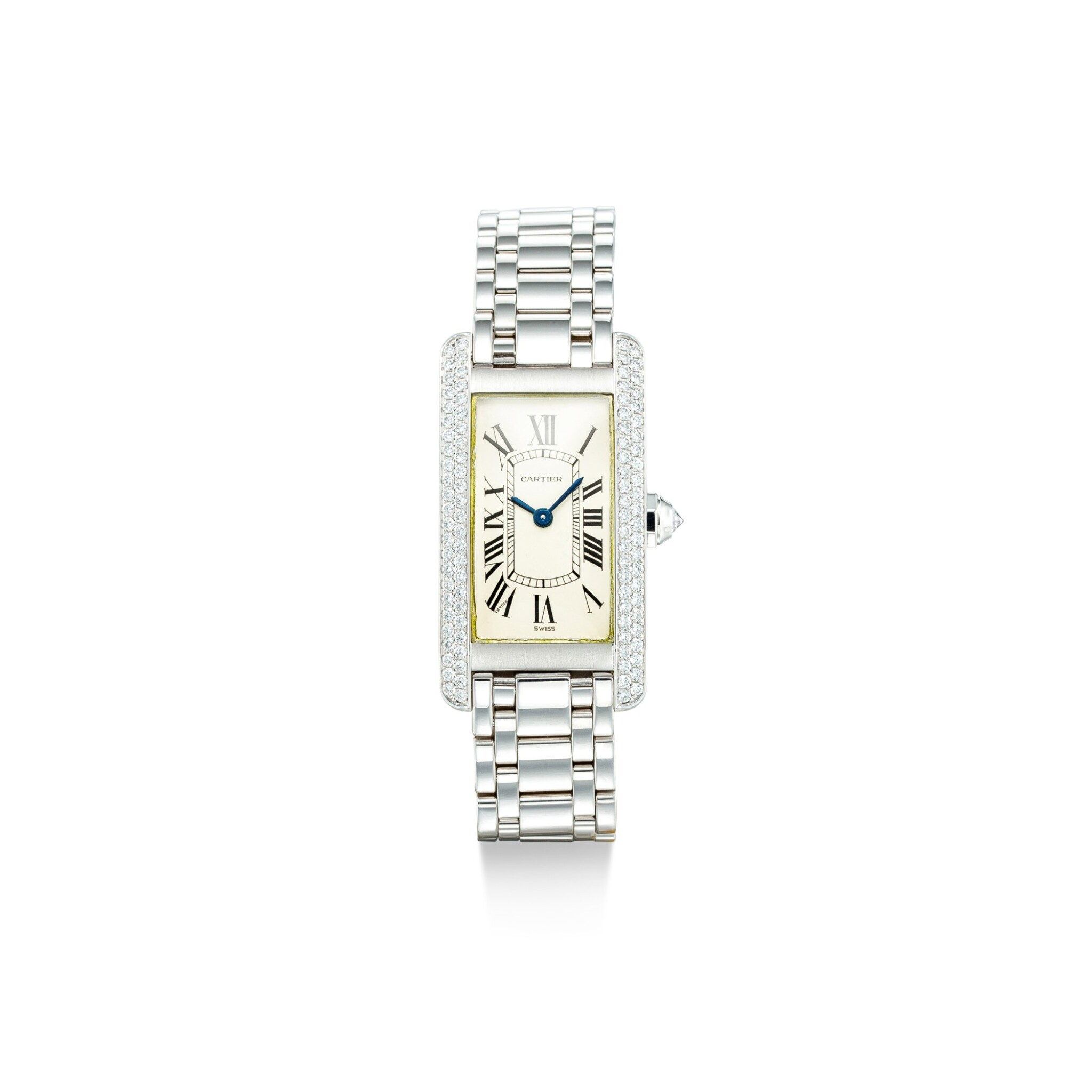 View full screen - View 1 of Lot 1108. CARTIER | TANK AMÉRICAINE, REFERENCE 1713, A WHITE GOLD AND DIAMOND-SET WRISTWATCH WITH BRACELET, CIRCA 2000.