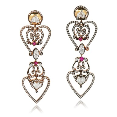 View 1. Thumbnail of Lot 18. Pair of ruby and diamond earrings.