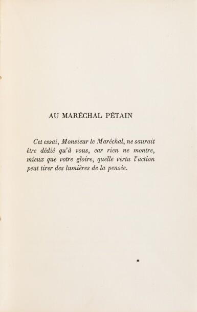 View 3. Thumbnail of Lot 250. Le Fil de l'Épée. 1932. Broché. Edition originale avec dédicace imprimée à Pétain. 1/25 sur pur fil.