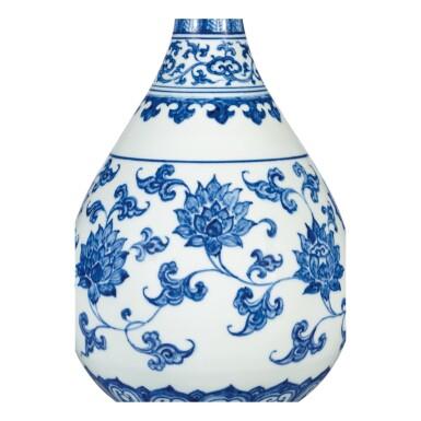 View 3. Thumbnail of Lot 3609. AN EXTREMELY RARE AND SUPERB BLUE AND WHITE 'LOTUS SCROLL' VASE, YUHUCHUNPING MING DYNASTY, CHENGHUA PERIOD   明成化 青花纏枝番蓮紋玉壺春瓶.