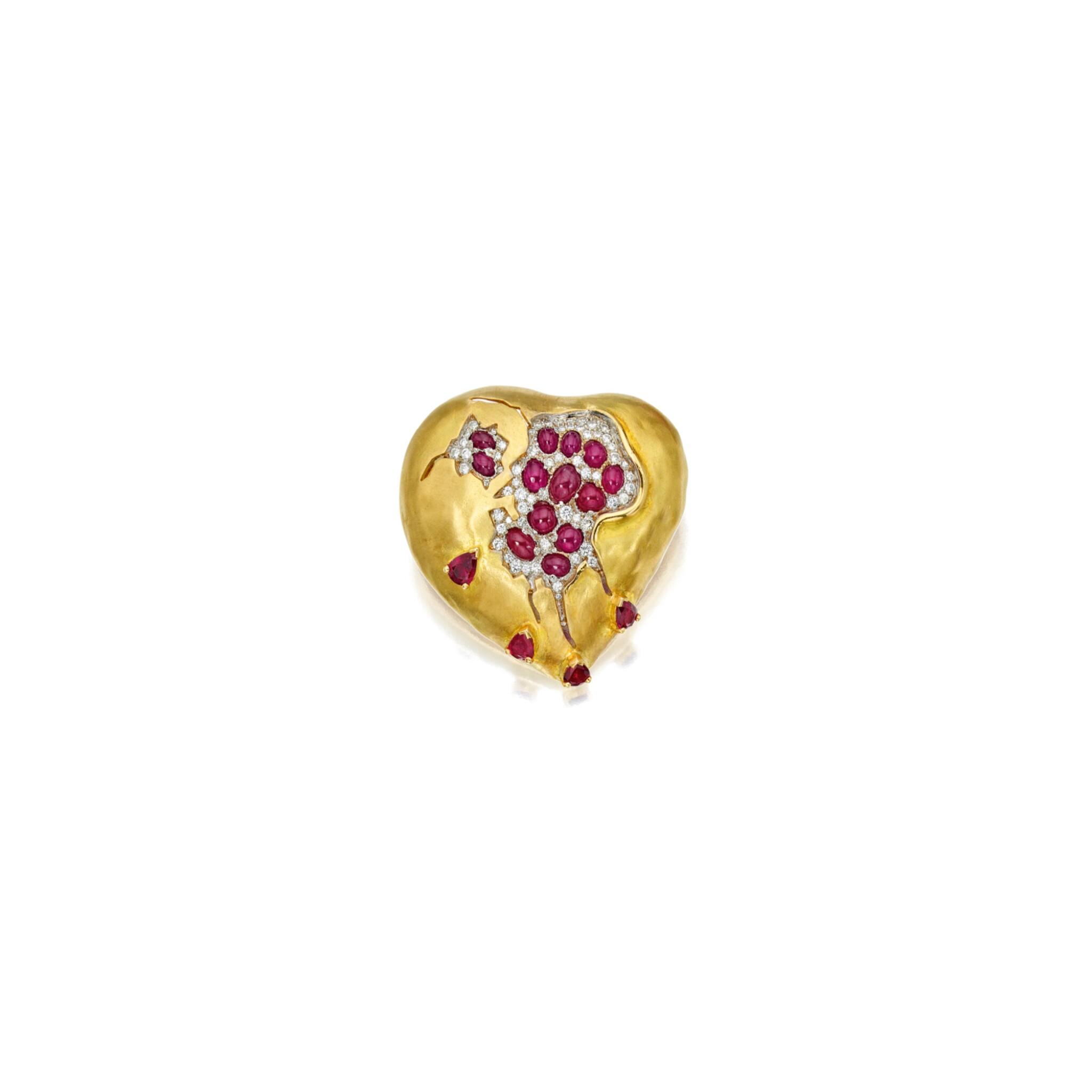 View full screen - View 1 of Lot 529. GOLD, RUBY AND DIAMOND 'POMEGRANATE HEART' BROOCH, HENRYK KASTON FOR SALVADOR DALÍ | 黃金鑲紅寶石配鑽石「紅石榴之心」別針,Henryk Kaston為薩爾瓦多・達利製造.