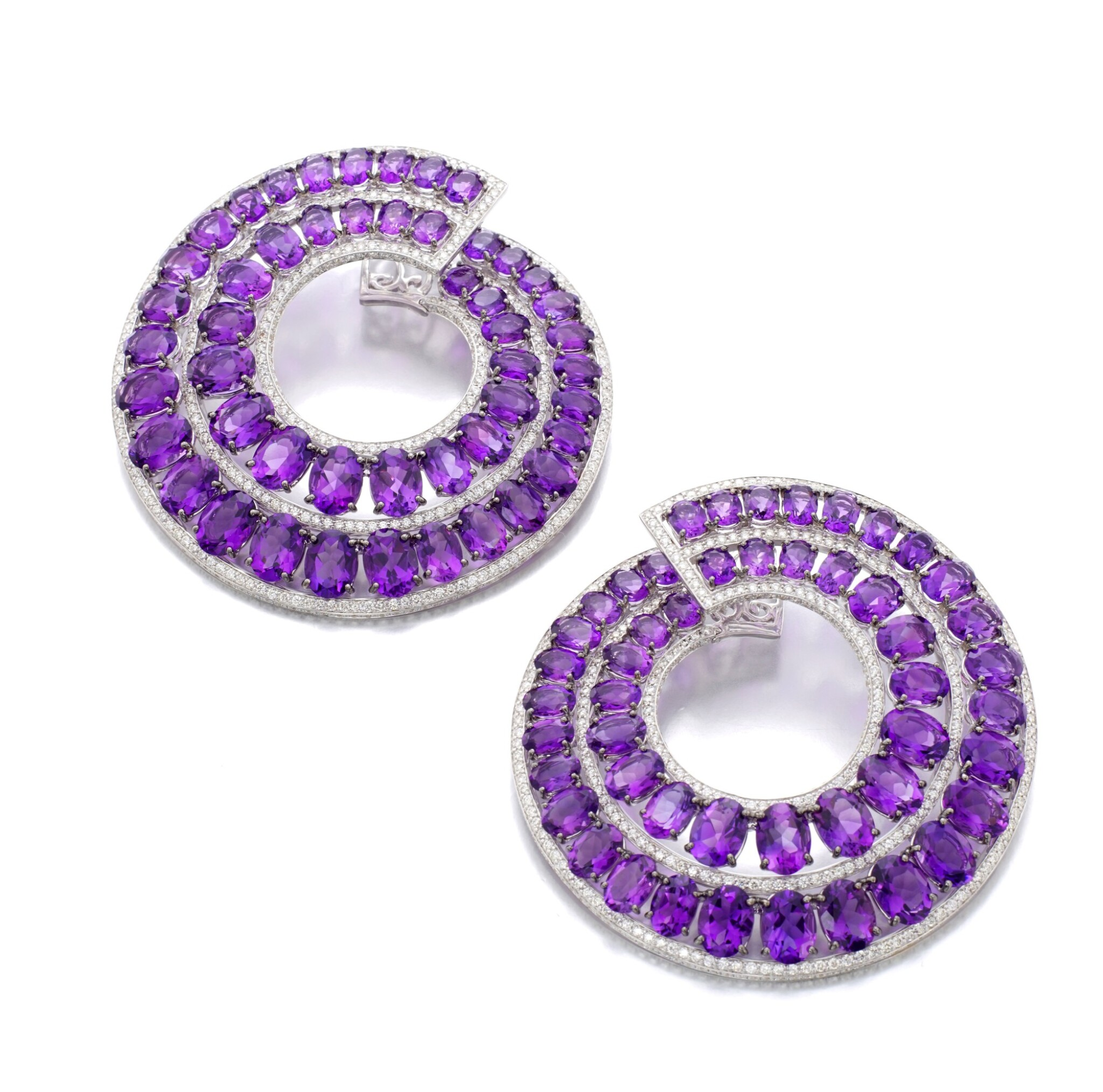 View full screen - View 1 of Lot 30. MICHELE DELLA VALLE   PAIR OF AMETHYST AND DIAMOND EARRINGS.