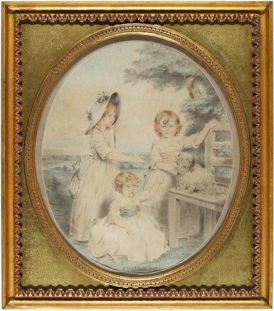 View 2. Thumbnail of Lot 203. A group portrait of Lady Honora Elizabeth Hester Lambart (1784-1856), Lady Sophia Augusta Lambart (1787-1798), Lady Alicia Margaretta Hockmore Lambart (1785-1818) and their dog.
