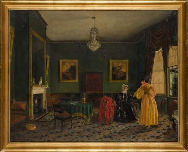 View 2. Thumbnail of Lot 212. ENGLISH SCHOOL, CIRCA 1830 | Elegant ladies in a townhouse interior.