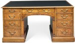 A GEORGE II WALNUT AND CROSSBANDED TWIN-PEDESTAL PARTNER'S DESK, 20TH CENTURY