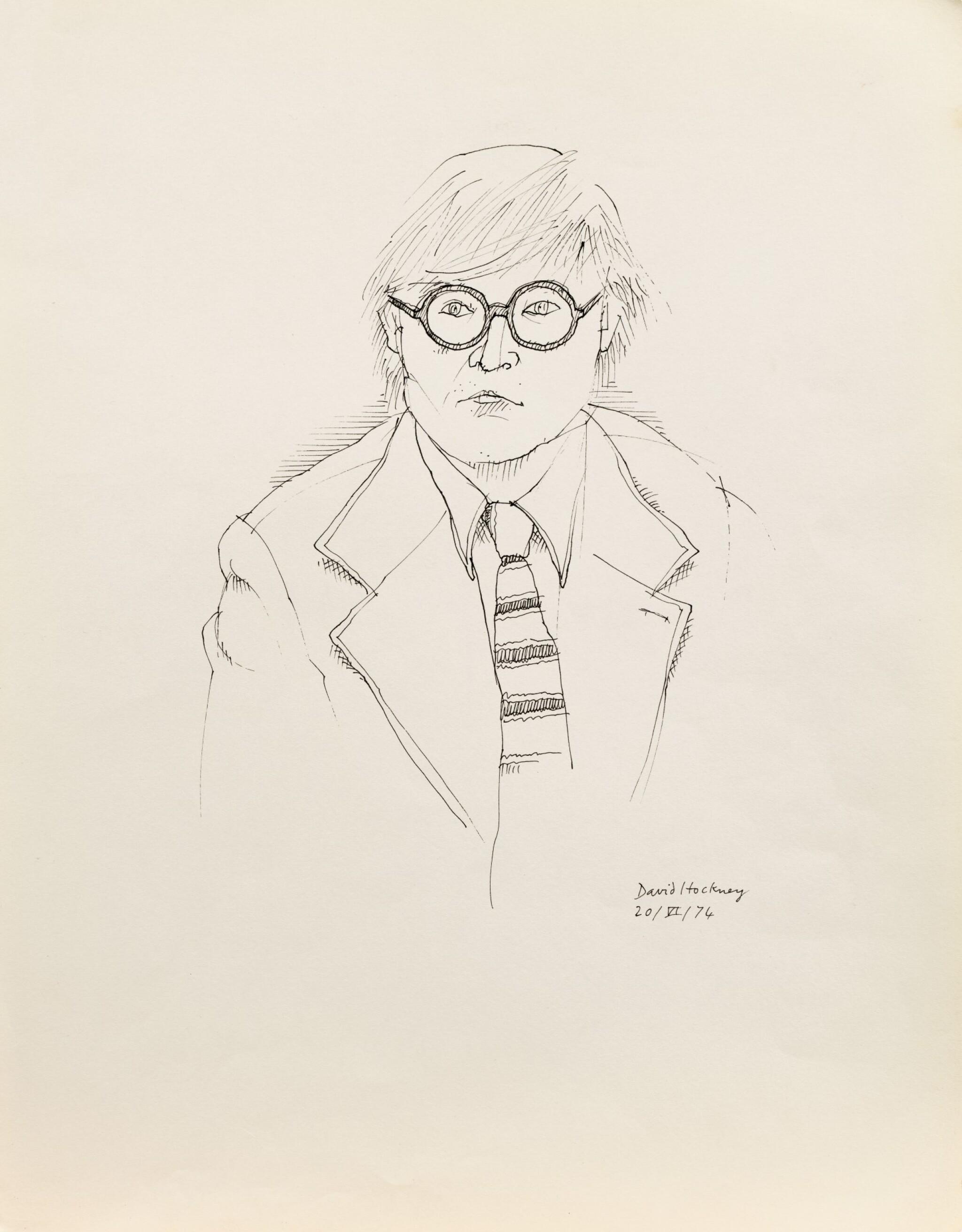 View full screen - View 1 of Lot 33. Portrait de David Hockney en buste.