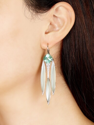 FORMS | PAIR OF TOURMALINE, MOONSTONE AND DIAMOND PENDENT EARRINGS | Forms | 碧璽 配 月亮石 及 鑽石 吊耳環一對