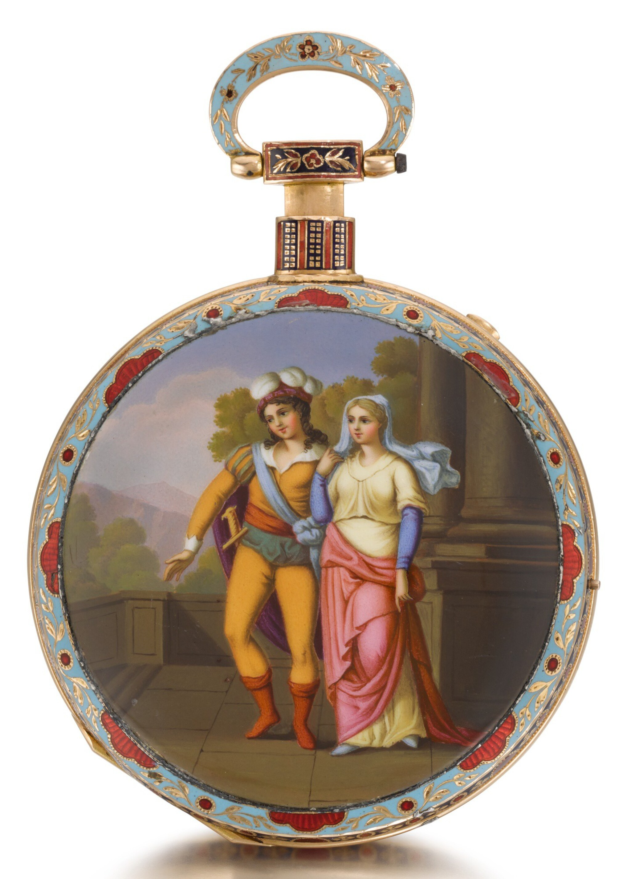 View full screen - View 1 of Lot 232. BOVET   A LARGE GOLD AND ENAMEL QUARTER REPEATING MUSICAL OPEN-FACED WATCH MADE FOR THE CHINESE MARKET   CIRCA 1820 NO. 9819.