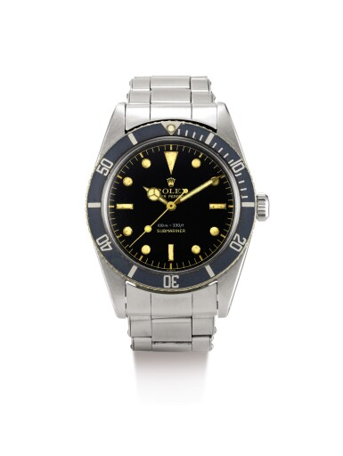 ROLEX | SMALL CROWN JAMES BOND SUBMARINER, REFERENCE 5508, A STAINLESS STEEL WRISTWATCH WITH GILT DIAL AND BRACELET, CIRCA 1959