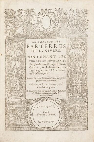 View 1. Thumbnail of Lot 62. Le Thresor des parterres de l'univers. Genève, 1629. In-4. Reliure de Bruyère. Seule et unique édition..