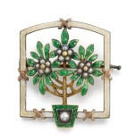 A Fabergé gem-set gold and guilloché enamel 'Bay Tree' brooch, probably August Holmström, St Petersburg, circa 1900