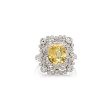 View 1. Thumbnail of Lot 13. YELLOW SAPPHIRE AND DIAMOND RING.