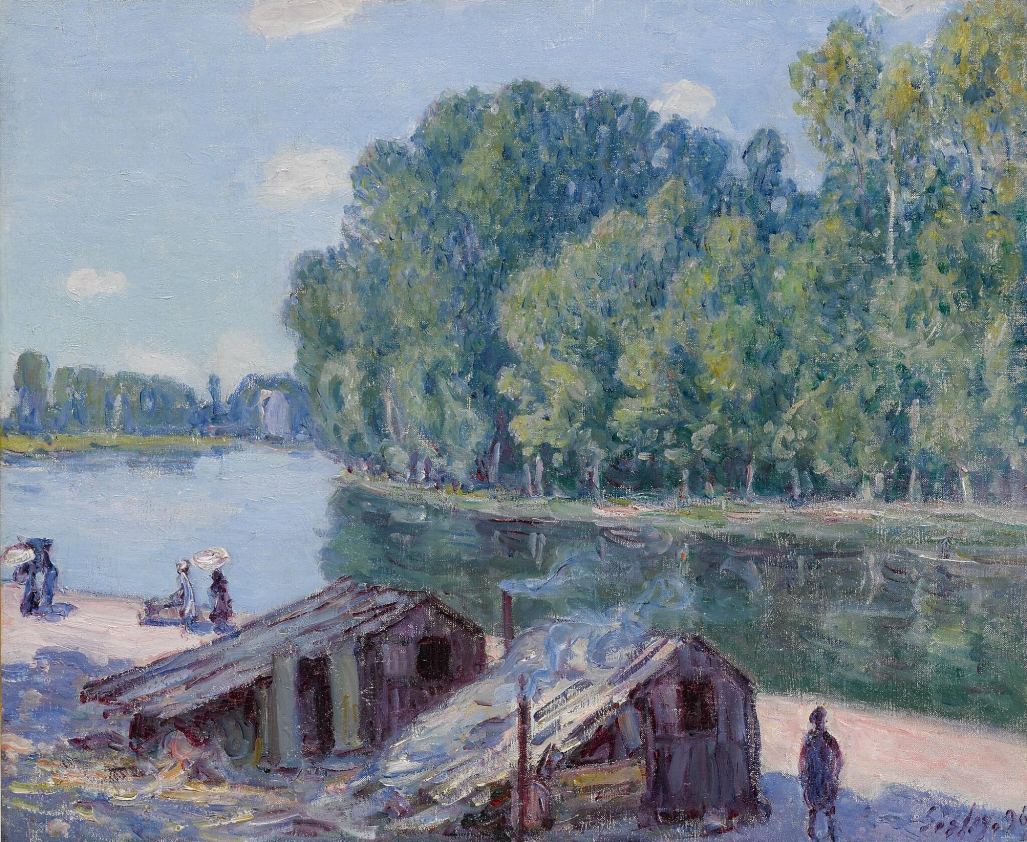 View full screen - View 1 of Lot 17. Cabanes au bord du canal du Loing, Effet de soleil.