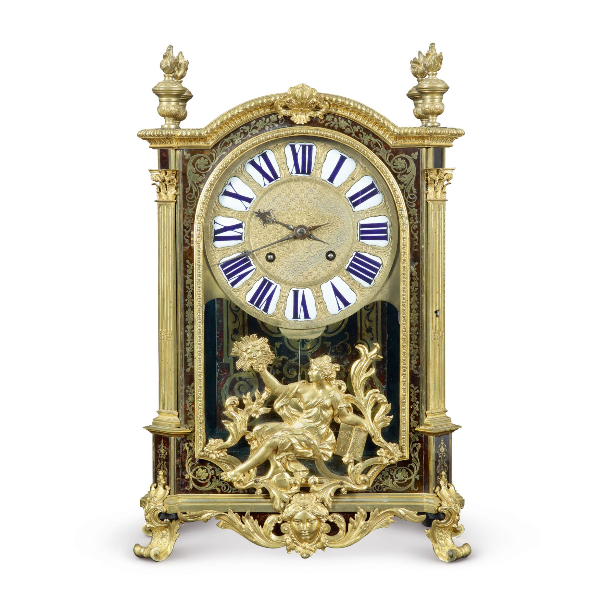 View full screen - View 1 of Lot 708. A LOUIS XIV GILT BRONZE-MOUNTED BOULLE MARQUETRY MANTEL CLOCK.