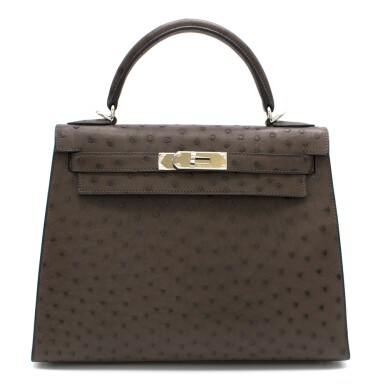 Kelly Sellier 28 Marron Colour in Ostrich Leather with palladium hardware. Hermès. 2006.