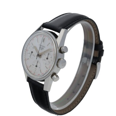 View 2. Thumbnail of Lot 48. HEUER | CARRERA 12, REF 2447T STAINLESS STEEL CHRONOGRAPH WRISTWATCH  CIRCA 1965.