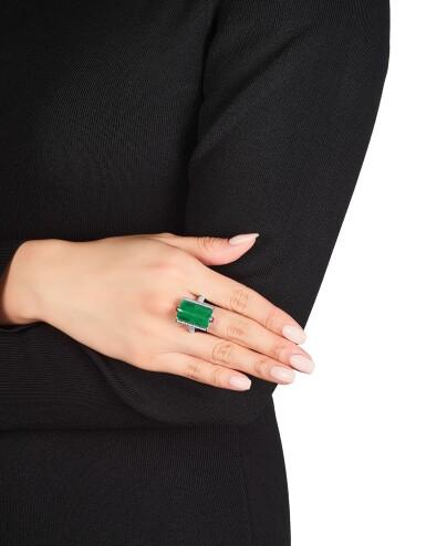 View 4. Thumbnail of Lot 1721. Jadeite, Diamond and Ruby Ring; and Pair of Jadeite Ear Clips | 天然翡翠 配 鑽石 及 紅寶石 戒指; 及 天然翡翠耳環一對.