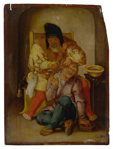 View 1. Thumbnail of Lot 51. Sold Without Reserve   17TH CENTURY FOLLOWER OF LUCAS VAN LEYDEN   A SURGEON WITH HIS PATIENT.