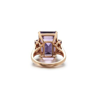 View 3. Thumbnail of Lot 10. AMETHYST AND DIAMOND RING.