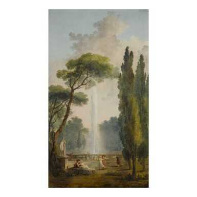 View 1. Thumbnail of Lot 39. View of a garden with a large fountain at center and figures relaxing and dancing in the foreground.