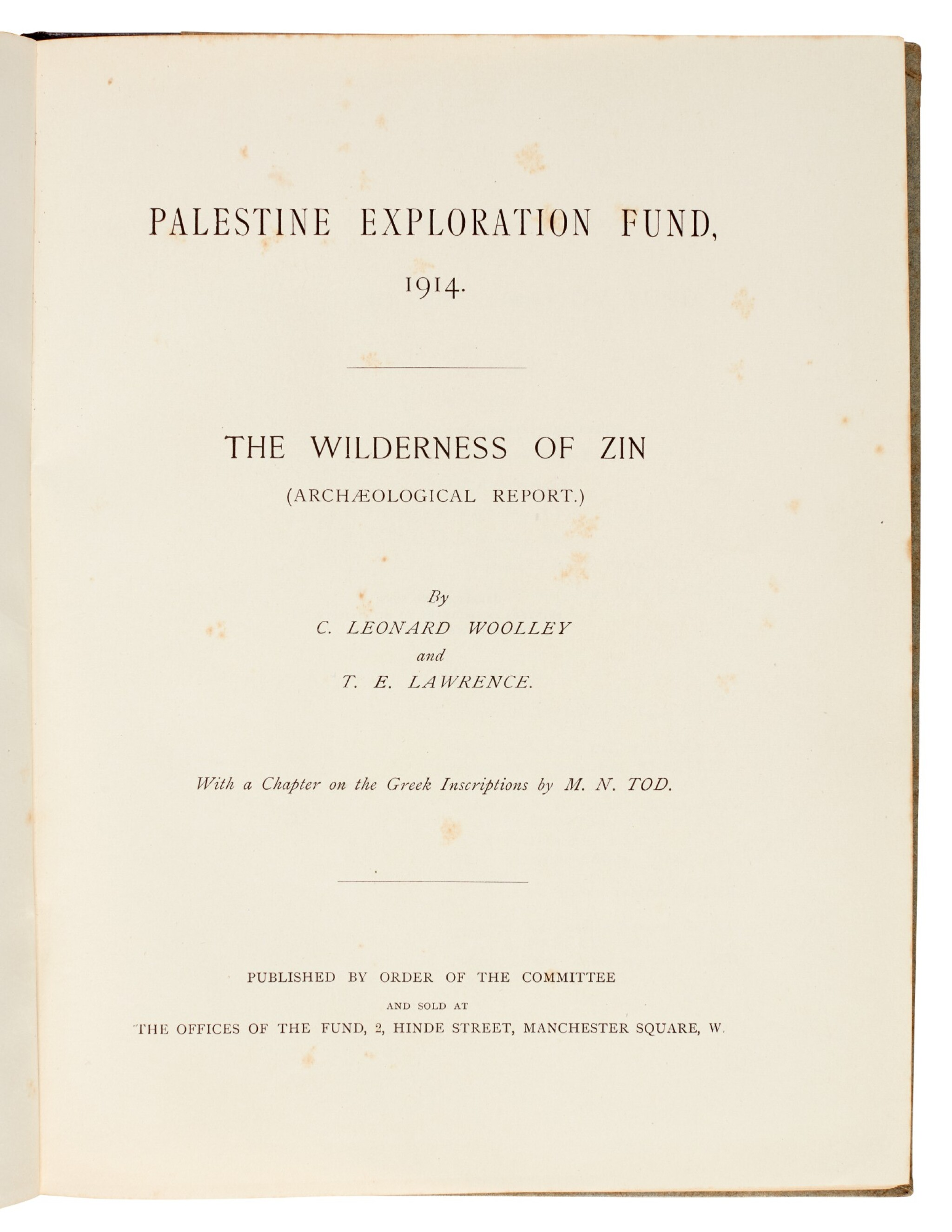 View full screen - View 1 of Lot 99.  LAWRENCE, T.E.   Palestine Exploration Fund, 1914. The Wilderness of Zin..., 1914.