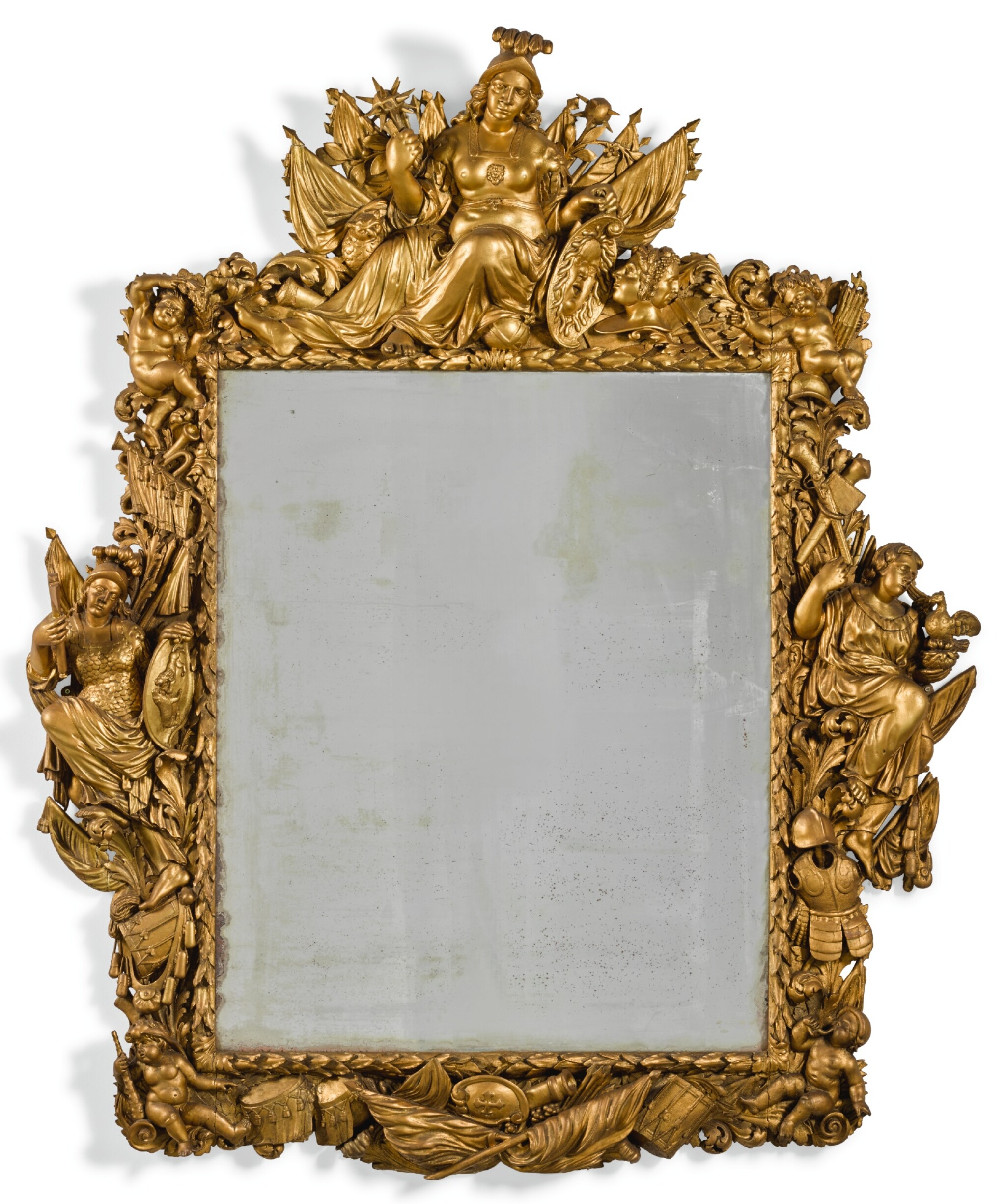 View full screen - View 1 of Lot 115. A LARGE FLEMISH CARVED GILTWOOD FRAME LATE 17TH CENTURY.