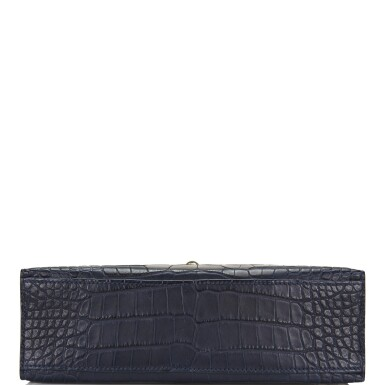 View 5. Thumbnail of Lot 44. Hermès Mini Kelly Pochette of Bleu Indigo Matte Mississippiensis Alligator with Palladium Hardware.