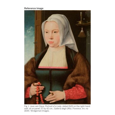 View 2. Thumbnail of Lot 18. ATTRIBUTED TO JOOS VAN CLEVE | PORTRAIT OF A LADY HOLDING A ROSARY AND A FLOWER.