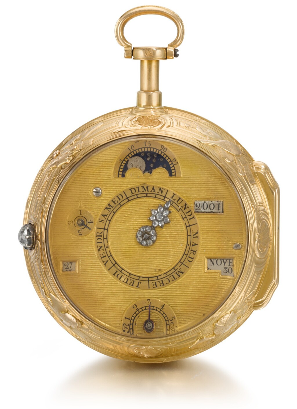 TAVERNIER À PARIS | A RARE GOLD DOUBLE DIALLED CALENDAR WATCH WITH MOON PHASES AND MANUAL YEAR MEMENTO DIAL, DUMB QUARTER REPEATING AND À TOC  CIRCA 1760