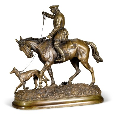 View 2. Thumbnail of Lot 291. Peasant on Horseback: a bronze figure, after the model by Evgeny Lansere (1848-1886), 1881.
