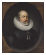 CORNELIUS JOHNSON   PORTRAIT OF A GENTLEMAN, BUST LENGTH, IN A PAINTED OVAL