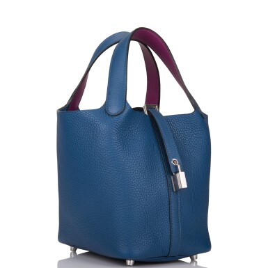 View 2. Thumbnail of Lot 8. Hermès Deep Blue and Anemone Picotin Lock 18cm of Clemence Leather with Palladium Hardware.