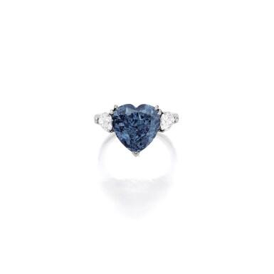 View 1. Thumbnail of Lot 1806. A SUPERB FANCY VIVID BLUE DIAMOND AND DIAMOND RING  5.04卡拉 心形 艷彩藍色 VS2淨度 鑽石 配 鑽石 戒指.
