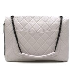 CHANEL | WHITE MAXI REISSUE 2.55 BAG IN AGED CALFSKIN WITH GUNMETAL HARDWARE, 2008/2009