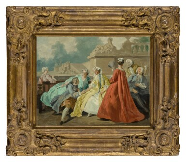 View 3. Thumbnail of Lot 613. A group of elegant figures seated in a park.