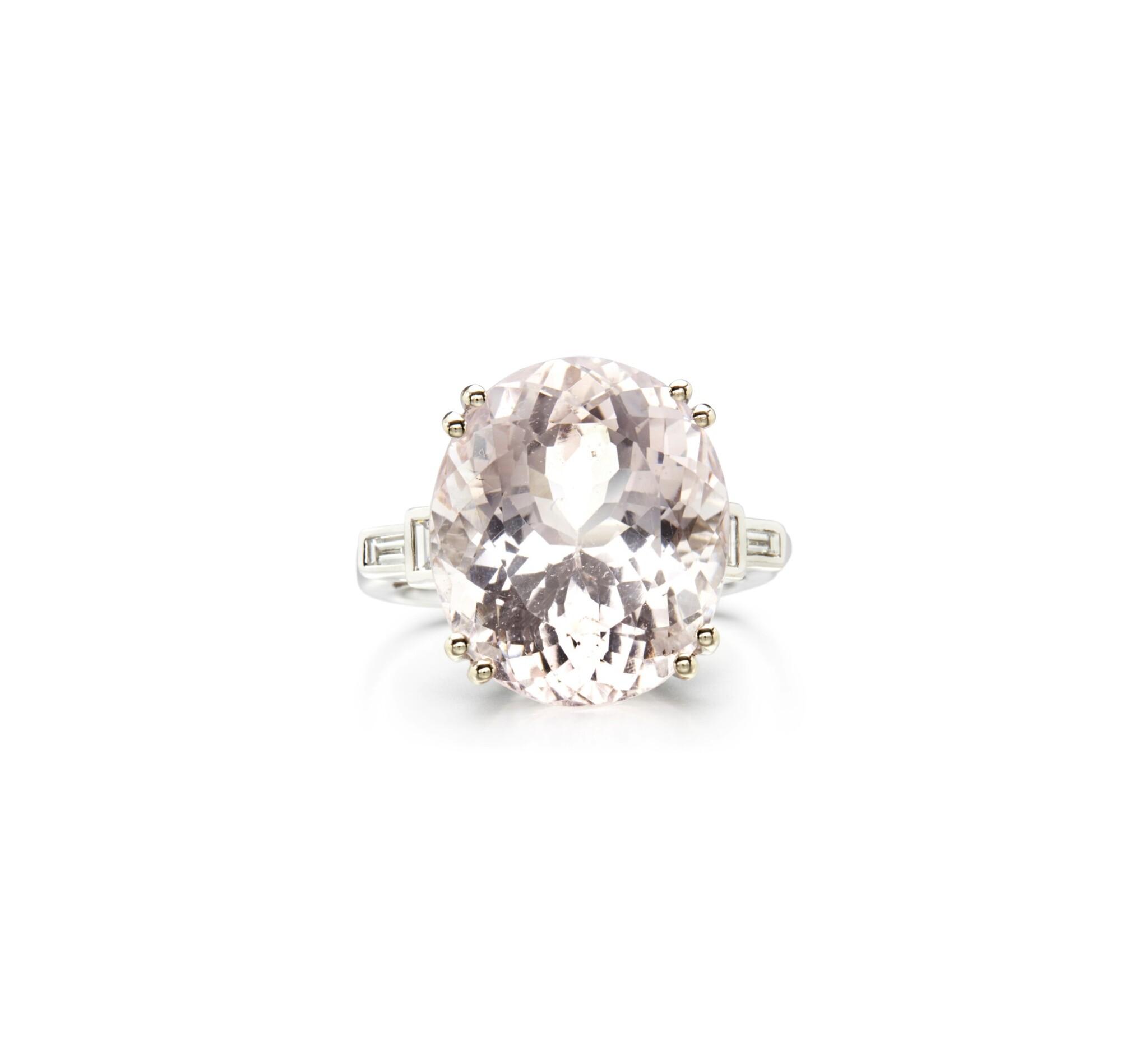 View full screen - View 1 of Lot 86. MORGANITE AND DIAMOND RING.