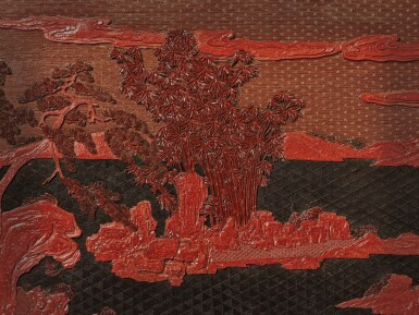 View 5. Thumbnail of Lot 63. An exceptional pair of carved three-color lacquer 'landscape' panels, Qing dynasty, Qianlong period | 清乾隆 剔彩山水高士圖掛屏一對.