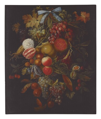 CIRCLE OF JACOB ROTIUS | STILL LIFE OF A HANGING BOUGH OF FRUIT AND FLOWERS INCLUDING GRAPES, PEACHES, FIGS, CORN, POMEGRANATES, CARNATIONS, AND TULIPS