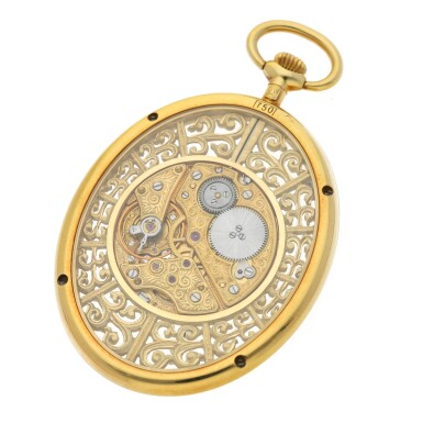 View 3. Thumbnail of Lot 84. JAEGER-LECOULTRE | A FINE YELLOW GOLD OVAL SKELETONIZED OPEN FACED WATCH CIRCA 1997.