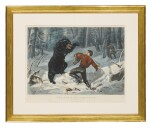 """CURRIER & IVES (PUBLISHERS)   THE LIFE OF A HUNTER: """"A TIGHT FIX"""" (GALE 3790)"""