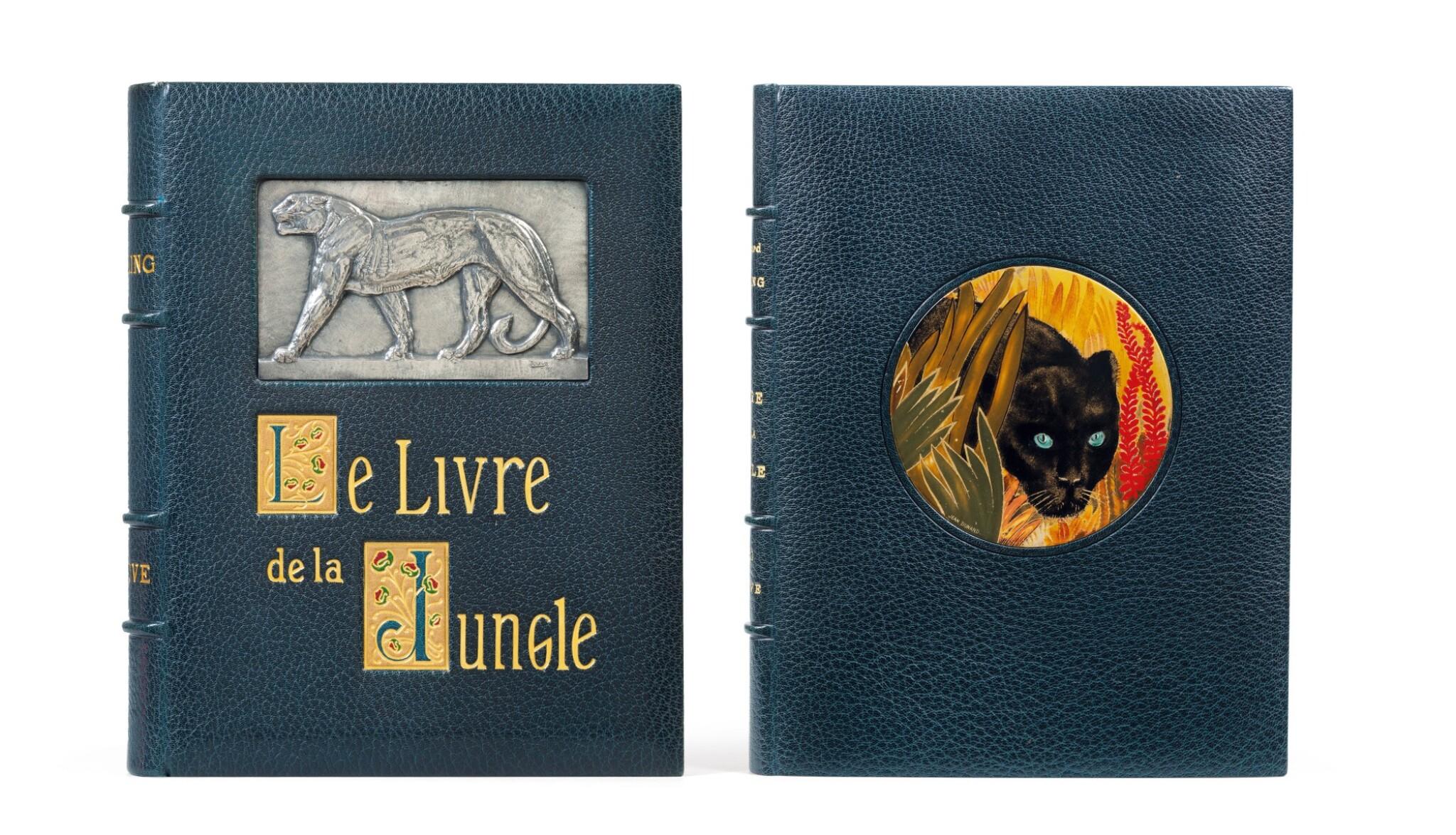 View full screen - View 1 of Lot 128. Le Livre de la Jungle, 1919. Exceptionnel ex. avec laque de Dunand et plaque en argent de Jouve.